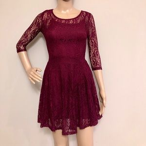 Long Sleeve Burgundy Lace Mini A-Line Dress, WOW